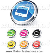 Retro Illustration of Round and Chrome Colorful TV Website Buttons by Beboy