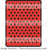 July 18th, 2012: Retro Illustration of the Back of a Red Playing Card with Many Black Diamonds by Andy Nortnik