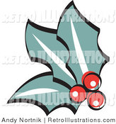 July 6th, 2012: Retro Illustration of Three Holly Berries and Leaves Retro by Andy Nortnik