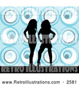 Retro Illustration of Two Happy Black Silhouetted Women Standing over a Retro Blue Background by KJ Pargeter