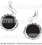 July 20th, 2012: Retro Illustration of Two Hot Bullet Holes Shot Through Metal, Smoking by Andy Nortnik