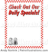 "Retro Illustration of Two Salt and Pepper Shakers and Text Reading ""Check out Our Daily Specials!"" Borderd by Red Checkers by Andy Nortnik"