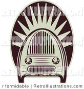 Retro Vector Illustration of a Table Top Radio by R Formidable