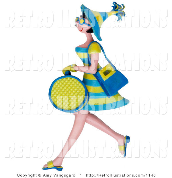 Retro Illustration of a 3d Woman Carrying Shopping Bags