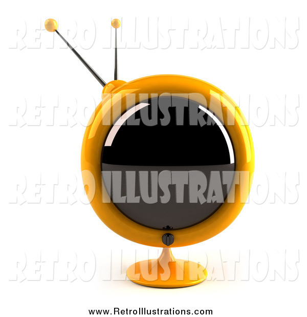 Retro Illustration of a 3d Yellow Round Retro TV