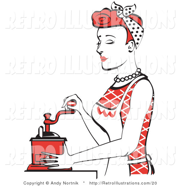 Retro Illustration of a Beautiful Red Haired Housewife or Maid Woman Operating a Manual Coffee Grinder