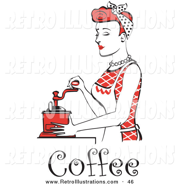 Retro Illustration of a Beautiful Red Haired Housewife or Maid Woman Using an Antique Coffee Grinder, with Text