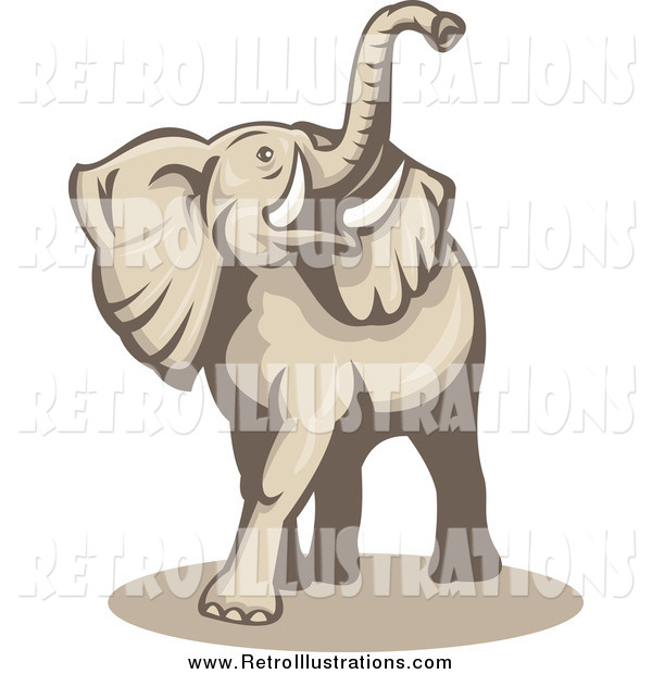Retro Illustration of a Beige Elephant Lifting His Trunk