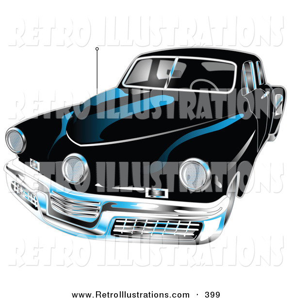Retro Illustration of a Black 1948 Tucker Car with a Chrome Bumper and Details Driving Forward