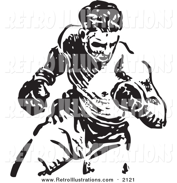 Retro Illustration of a Black and White Boxer