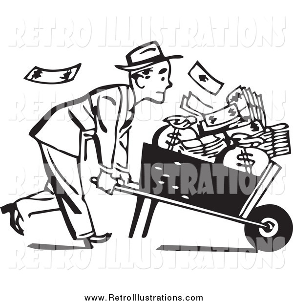 Retro Illustration of a Black and White Businessman Pushing a Wheelbarrow Full of Cash