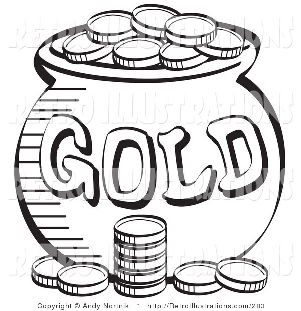 Retro Illustration of a Black and White Coloring Page of a Stack of Coins near a Pot of Leprechaun's Gold