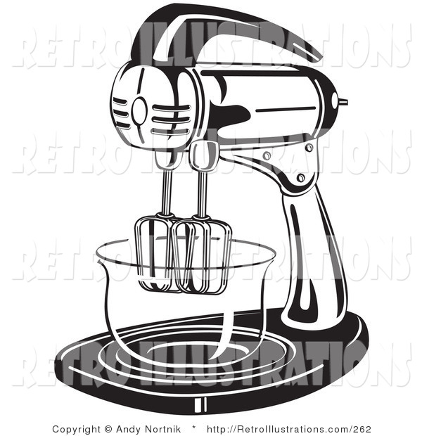 Retro Illustration of a Black and White Electric Stand Mixer in a Kitchen