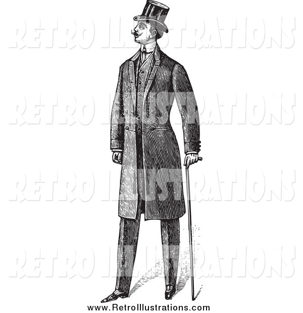 Retro Illustration of a Black and White Gentleman in a Suit