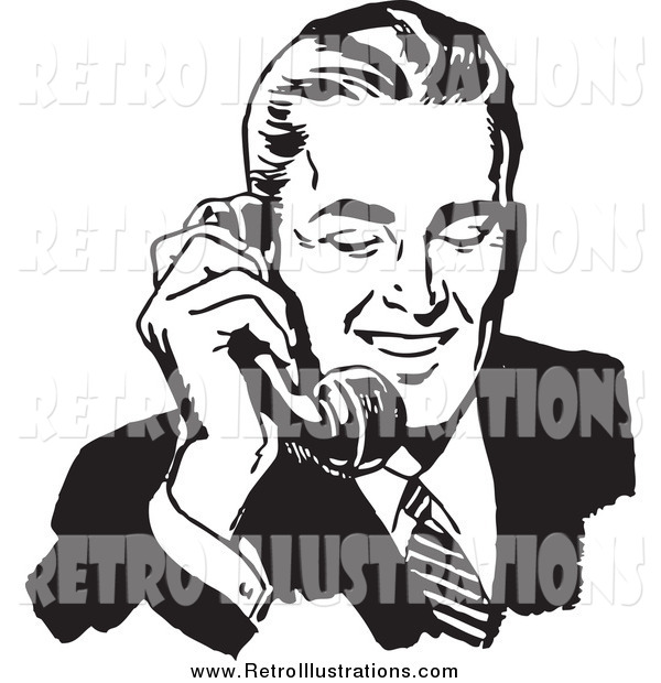 Retro Illustration of a Black and White Handsome Businessman Talking on a Phone