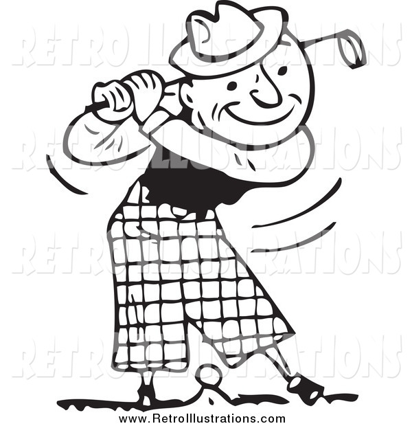 Retro Illustration of a Black and White Happy Man Swinging a Golf Club