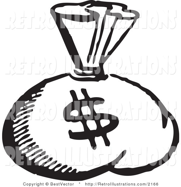 Retro Illustration of a Black and White Money Bag with Dollar Symbol