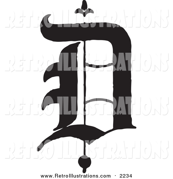 Retro Illustration of a Black and White Old English Abc Letter D