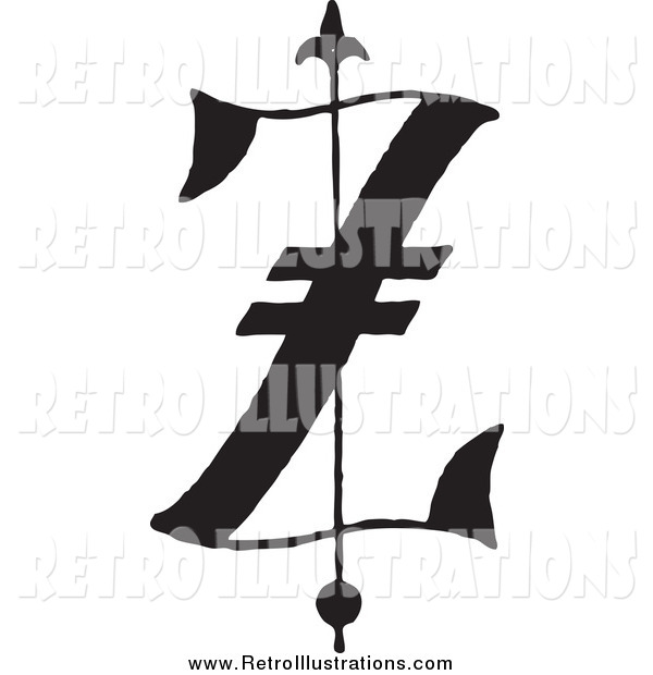 Retro Illustration of a Black and White Old English Letter Z