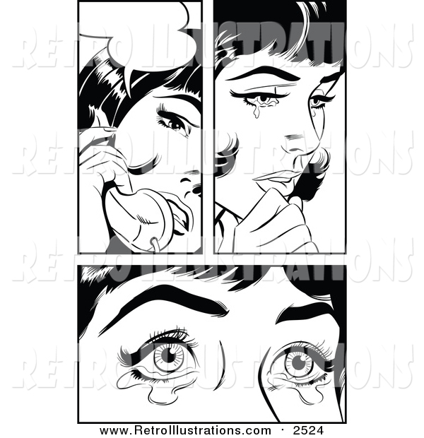 Retro Illustration of a Black and White Pop Art Women Crying and Talking