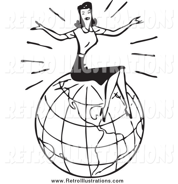 Retro Illustration of a Black and White Retro Lady Sitting on a Globe