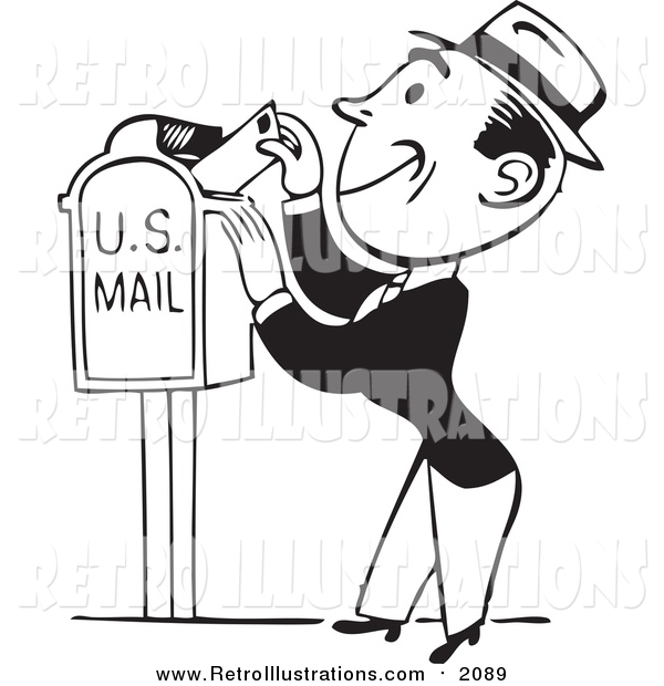 Retro Illustration of a Black and White Retro Man Inserting a Letter in a Mail Box