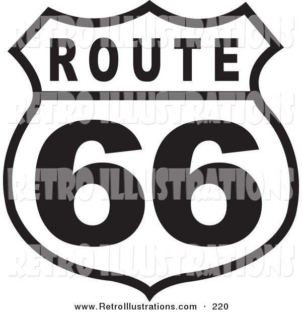 Retro Illustration of a Black and White Route 66 Roadside Highway Sign