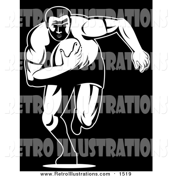 Retro Illustration of a Black and White Rugby Football Player