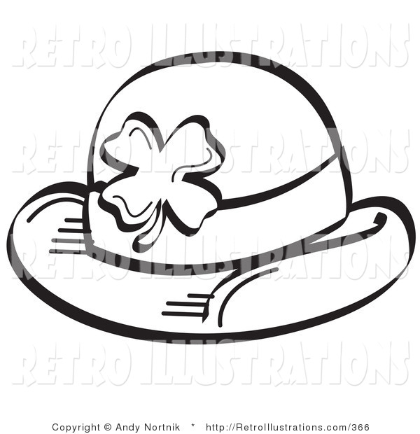 Retro Illustration of a Black and White Saint Paddy's Day Hat with a Clover on It
