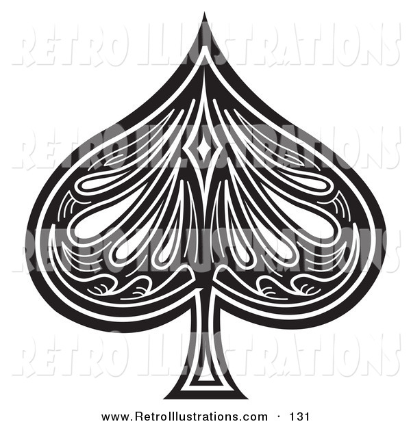 Retro Illustration of a Black Spade on a Playing Card on White