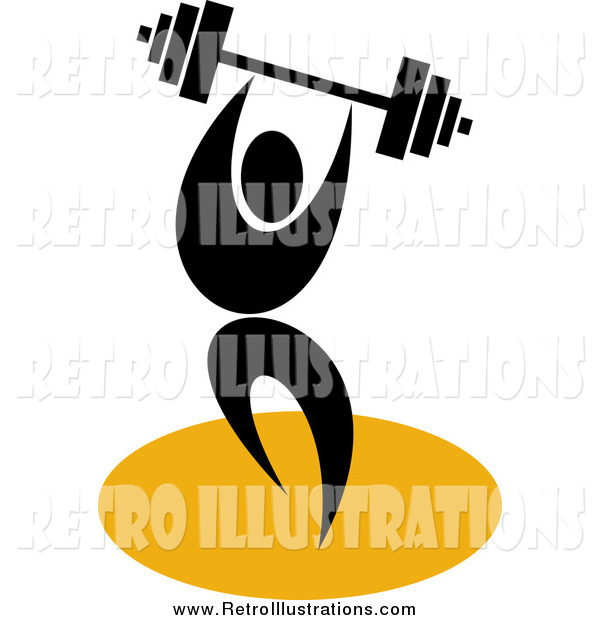 Retro Illustration of a Black Weight Lifter with a Barbell