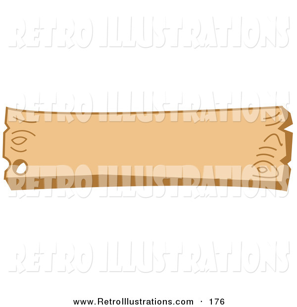 Retro Illustration of a Blank Wooden Western Style Sign with a Nail Hole on White