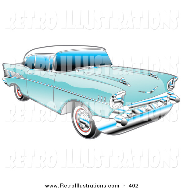 Retro Illustration of a Blue 1957 Chevy Bel Air Car with a White Roof and Silver Detailing