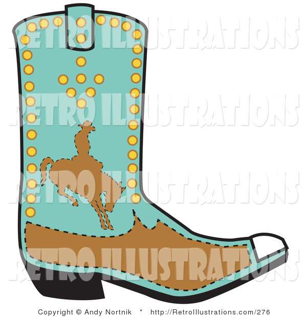 Retro Illustration of a Blue and Brown Boot of a Cowboy in Silhouette, Riding a Bucking Bronco