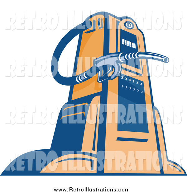 Retro Illustration of a Blue and Orange Gas Station Pump