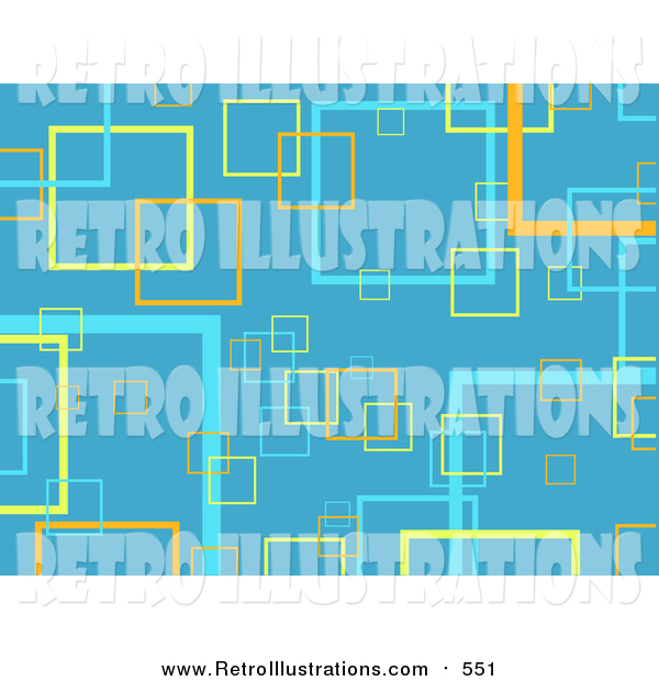 Retro Illustration of a Blue Background of Yellow, Orange and Blue Transparent Squares