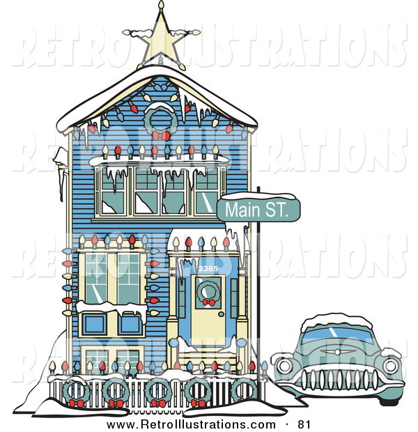 Retro Illustration of a Blue Car Covered in Snow Outside a Victorian House Decorated in Christmas Lights at 2365 Main Street - Old Fashioned