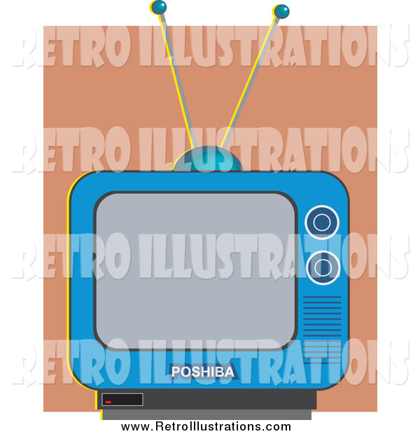 Retro Illustration of a Blue Retro TV Against a Brown Wall
