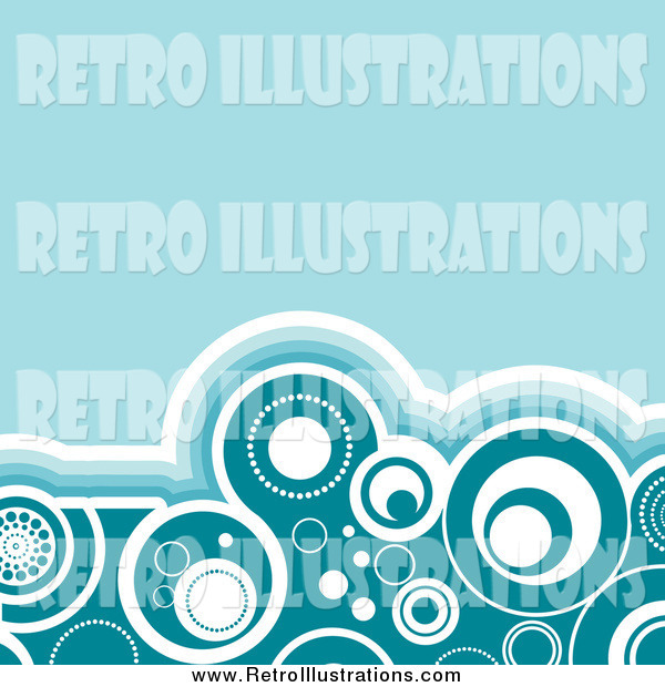 Retro Illustration of a Border of Circles Traced in White and Blue Shades