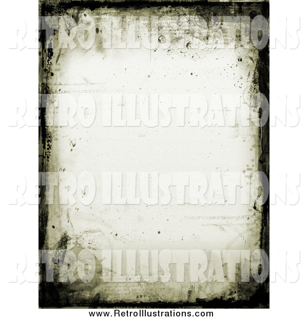Retro Illustration of a Border of Grunge and Watermarks on an off White Stationery Background