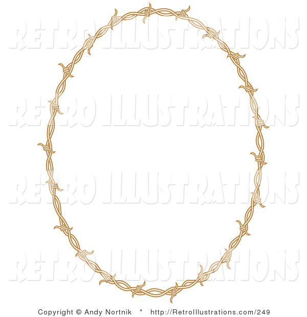 Retro Illustration of a Brown Oval Border Frame of Barbed Wire over a Solid White Background