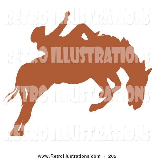 Retro Illustration of a Brown Silhouette of a Cowboy Riding a Bucking Bronco in a County Rodeo