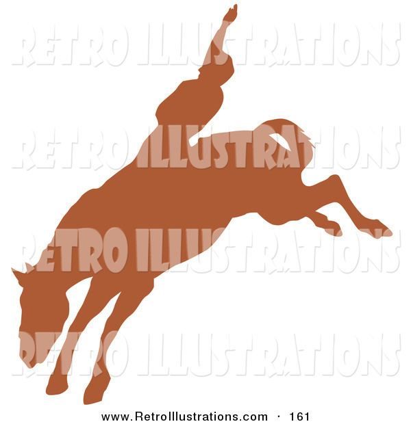Retro Illustration of a Brown Silhouetted Country Cowboy Riding a Bucking Bronco and Holding One Arm up in the Air in a Rodeo