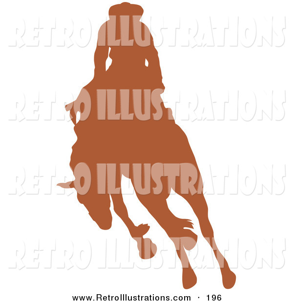 Retro Illustration of a Brown Silhouetted Cowboy Riding a Bucking Bronco in a Country Rodeo