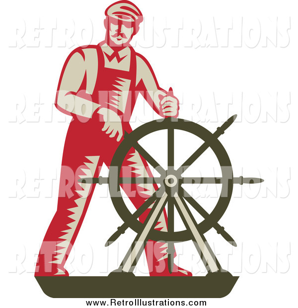 Retro Illustration of a Captain at the Helm
