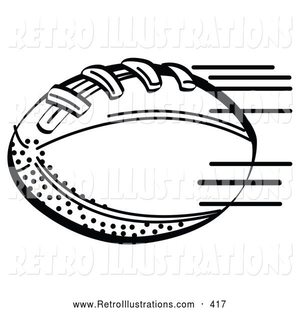 Retro Illustration of a Coloring Page of an American Football Rushing Through the Air During a Game