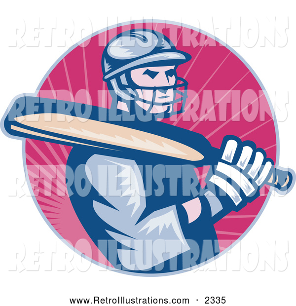 Retro Illustration of a Cricket Batsman Player over Pink Rays