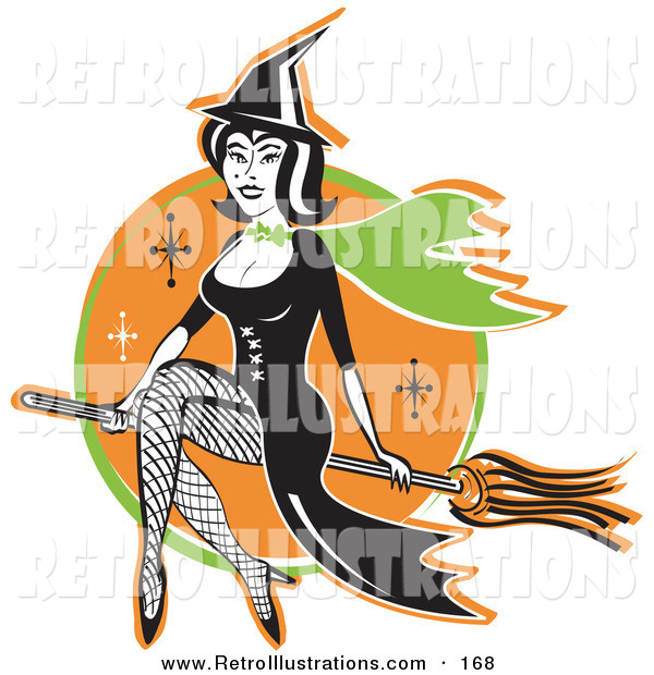 Retro Illustration of a Cute Black Haired Female Witch in a Pointy Hat, Long Black Dress and Fishnet Stockings, Sitting Cross Legged on a Broomstick While Flying Through the Night Sky