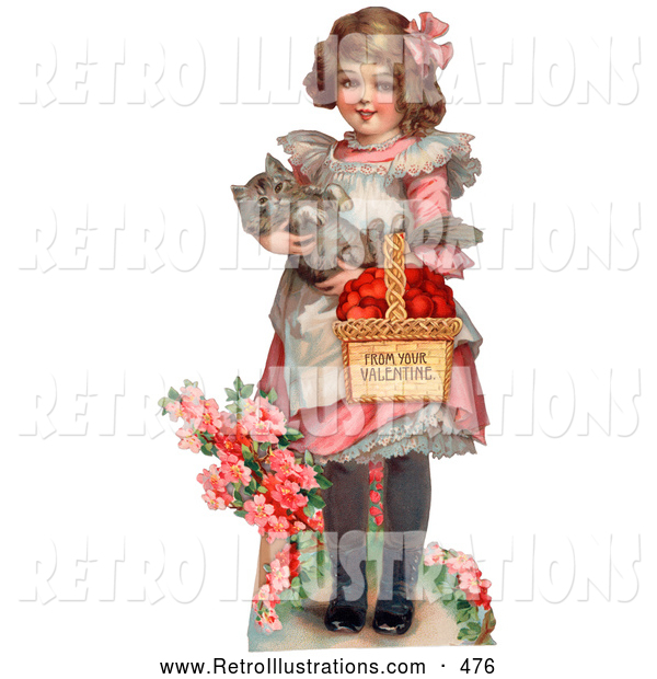 Retro Illustration of a Cute Sweet Little Girl Carrying a Basket of Red Hearts and a Cat in Her Arms, Walking in a Flower Garden, Circa 1885