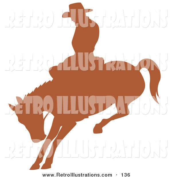 Retro Illustration of a Cutout Brown Silhouette of a Cowboy Riding a Bucking Bronco in a Rodeo